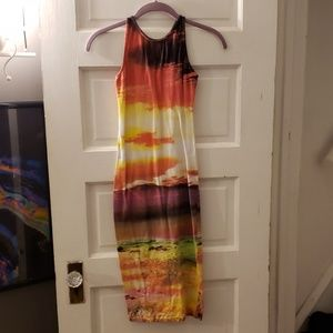 Motel rocks bodycon sunset print dress XS